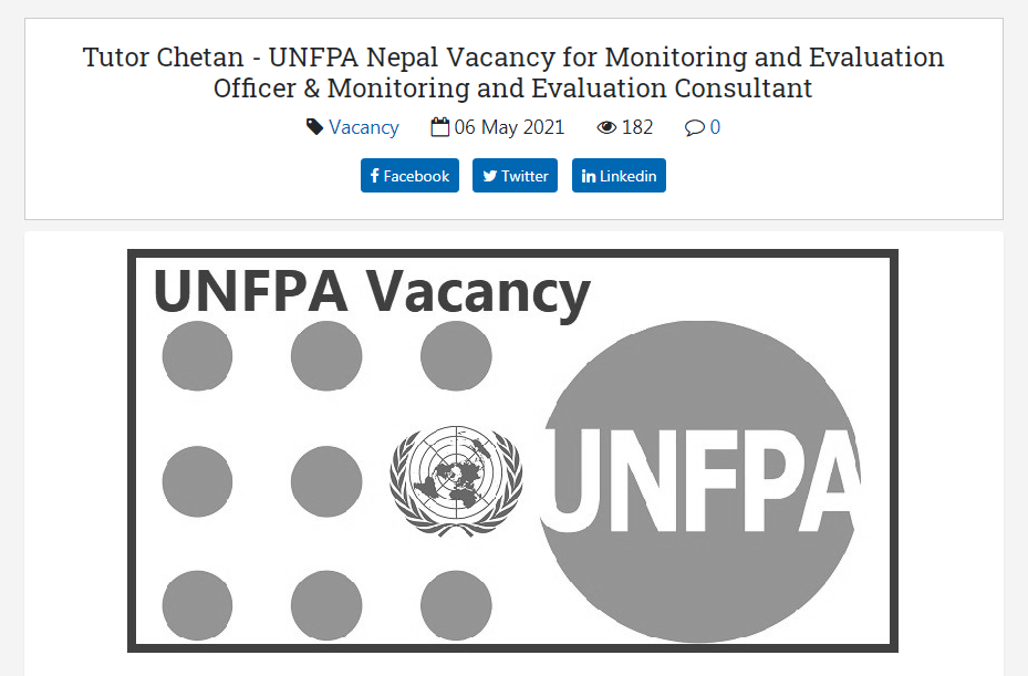 United Nations Population Fund (UNFPA) Nepal Vacancy for Monitoring and Evaluation Officer & Monitoring and Evaluation Consultant