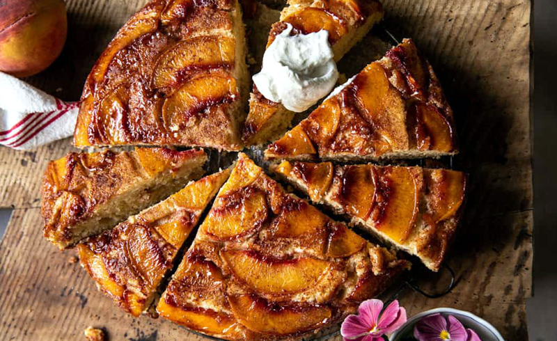 Cinnamon Sugar Peach Upside-Down Skillet Cake