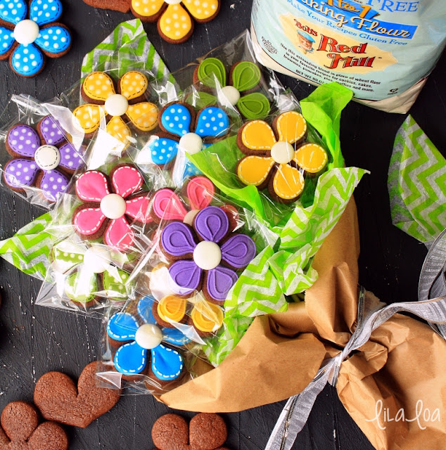 wrapped cookie bouquet with flower cookies