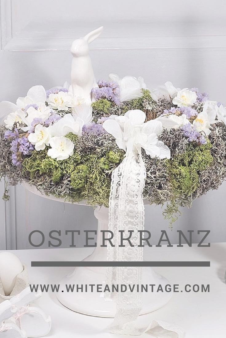 Osterkranz selber machen - White and Vintage
