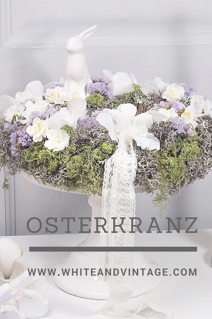 Osterkranz aus Naturmaterialien und Kunstblumen selber machen.