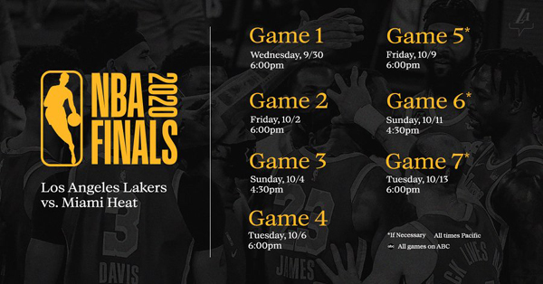 The schedule for the 2020 NBA Finals.