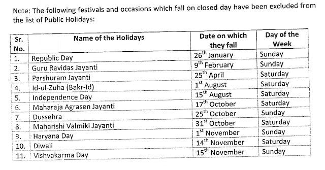 Haryana sarkar calendar 2020