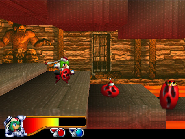 Marina walks through a room with moving platforms and lava on the floor.