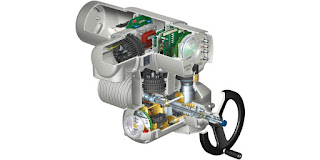 cutaway view of electric valve actuator for industrial use