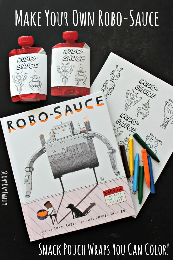 Make Your Own Robo-Sauce with Free Printable Snack Pouch Wraps You Can Color! Transform an ordinary snack pouch with this free printable robot activity. Kids love it!