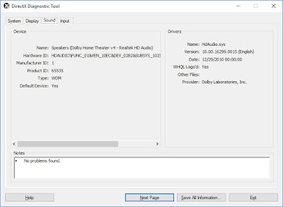 DirectX Diagnostic Tool - Display