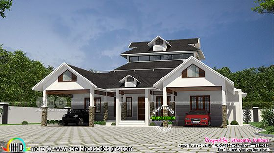 Single floor Sloped roof Home 2518 sq-ft