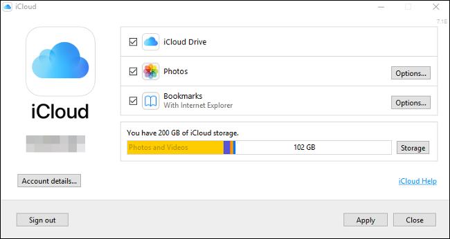 """لوحة تحكم """"iCloud"""" على نظام التشغيل Windows 10."""