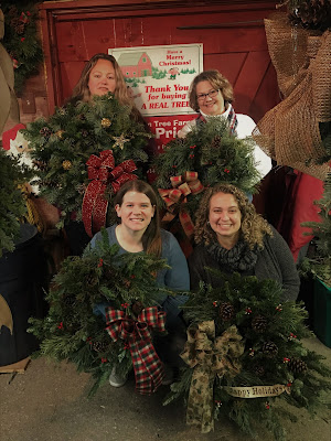 North Iowa Bloggers at the Carlson Tree Farm Christmas Wreath workshop
