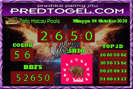 Pred Macau Minggu 04 Oktober 2020