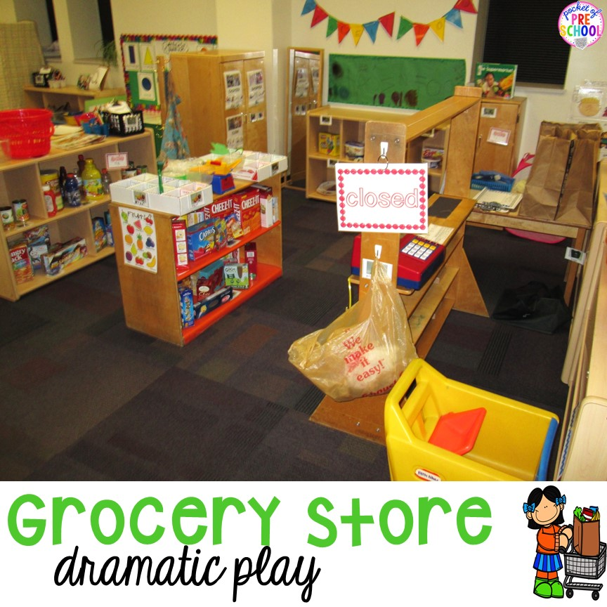 How to set up and create a grocery store in your dramatic play center that is full of literacy and math opportunities.