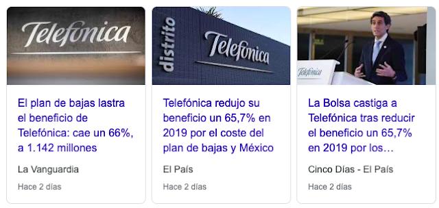Titulares del día en que Telefónica presentó resultados.