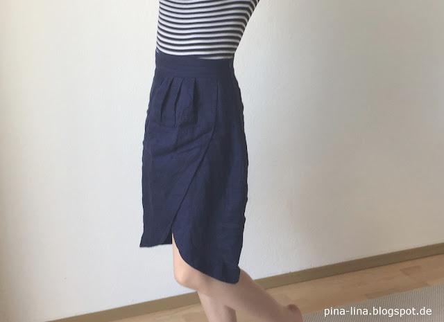 Wickelrock aus blauem Leinen