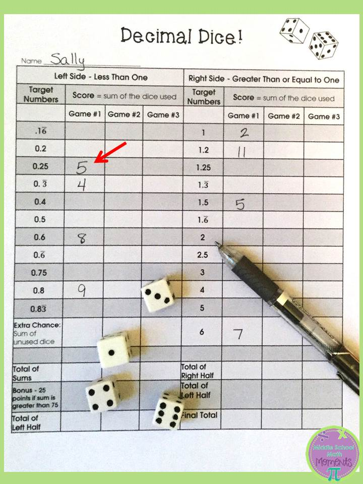 Middle School Math Moments (and more!): Playing &quot-Decimal Dice ...