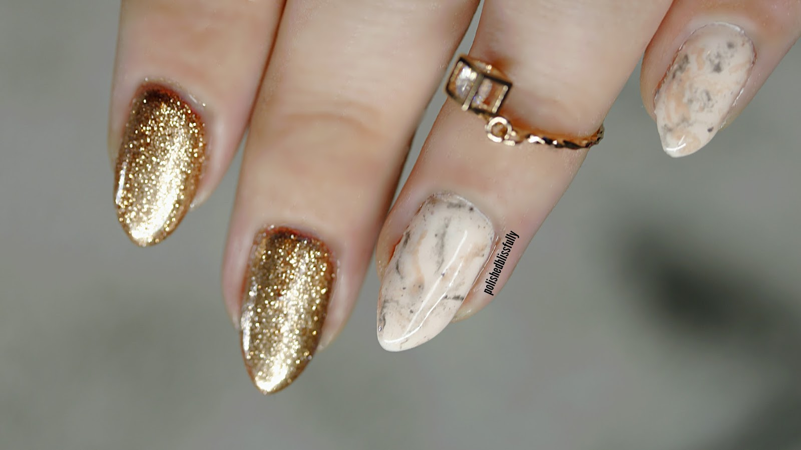 polishedblissfully: Realistic beige marble | gel and rose gold chrome.