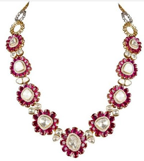 Ruby and uncut diamond necklace available at Inaaya by Deepa & Suhail Mehra