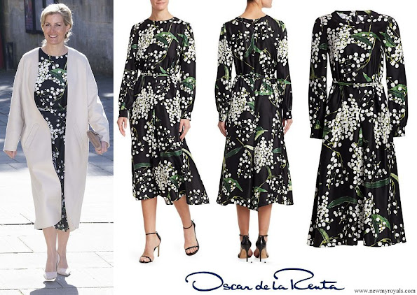 Countess of Wessex wore a new Oscar de la Renta Floral Long-Sleeve Side Button Silk A-Line Dress