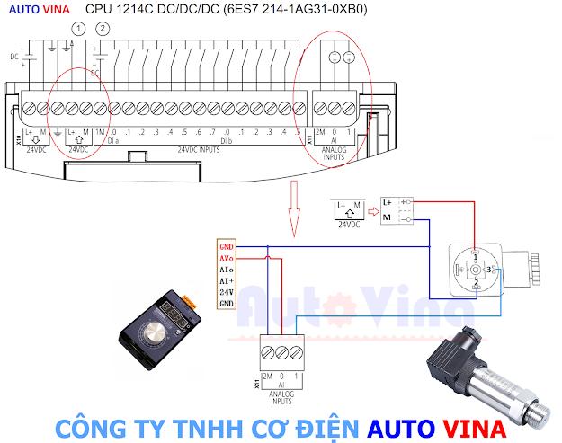 Sơ đồ đấu nối tín hiệu cảm biến áp suất vào PLC S7-1200, hướng dẫn đấu nối tín hiệu 0~10V vào Analog Input trên PLC Siemens S7-1200