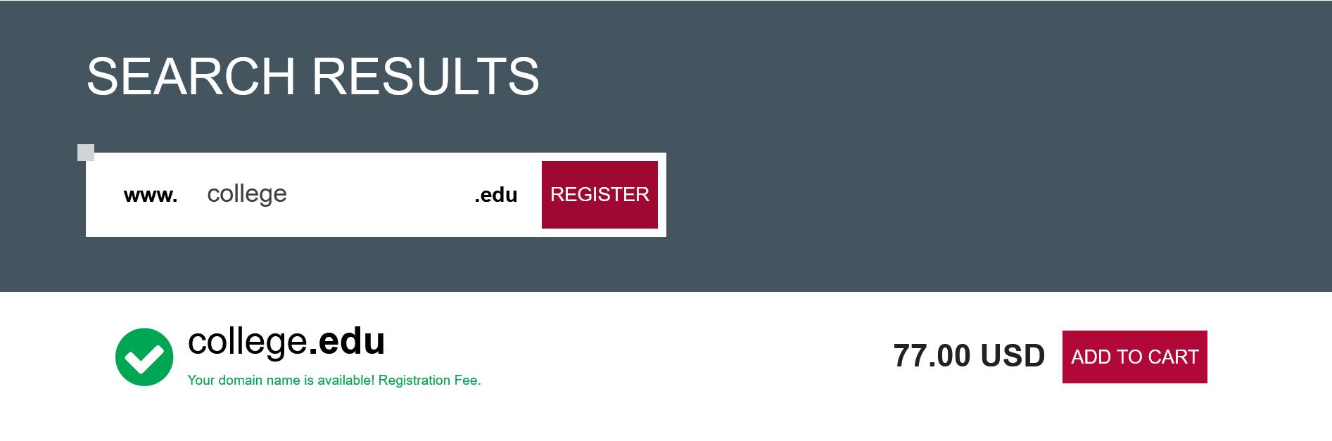 Register edu domain in India