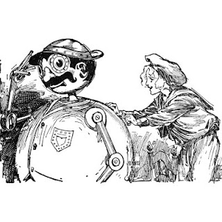 Image of Tik-Tok being wound. Illustration from the Oz books.