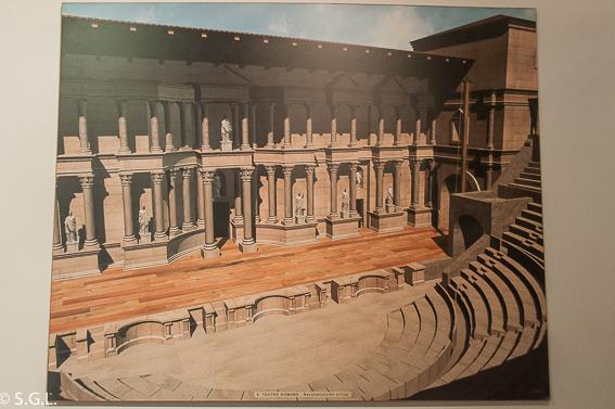 Reproduccion del teatro de Segobriga. Ciudad romana de Cuenca