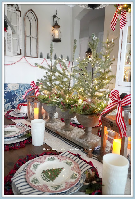 Cottage- Farmhouse -Christmas -Dining- Room -Tablescape-Mini_Christmas-Trees-From My Front Porch To Yours