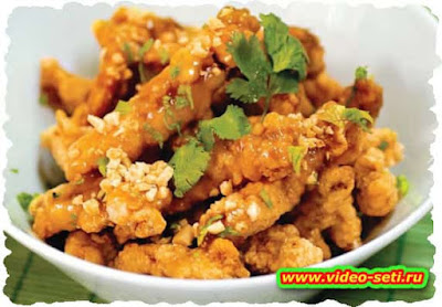 Crunchy Pork Strips in Sweet Peanut Sauce
