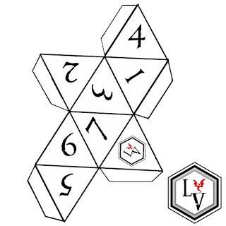 Dado de ocho caras o D8 octaedro regular papercraft estilo Ludoteca Virtual