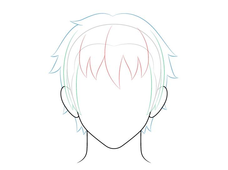 Rambut pria anime kembali dan gambar atas