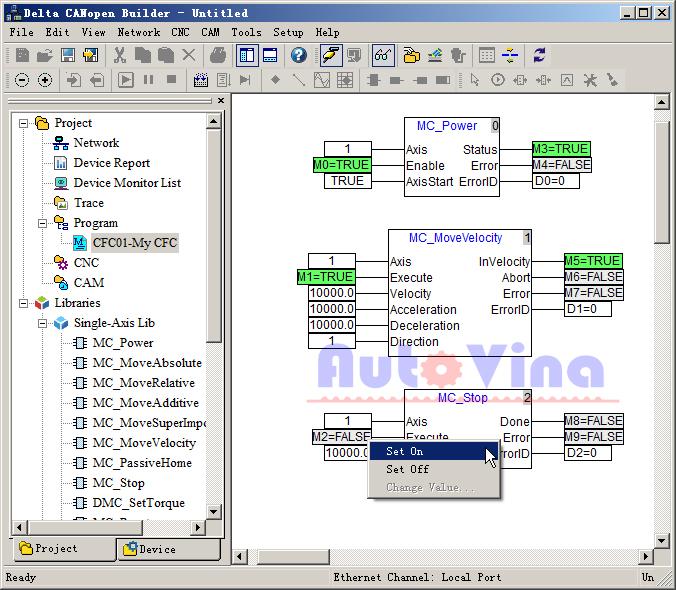Phần mềm PLC Delta CANopen Builder dùng cho PLC DVP10MC11T