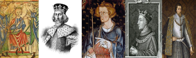 The dysentery Kings. From left to right. Henry the Young King, King John, Edward I, Henry V (Image courtesy of ancestryimages.com) and James VI