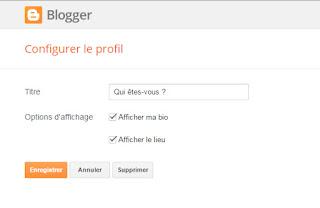 Paramètres profil Blogger
