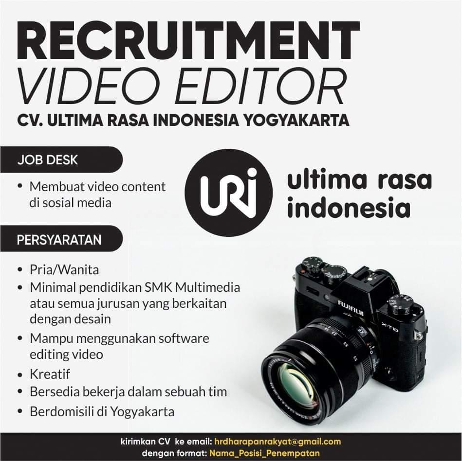 Lowongan Kerja Yogyakarta Sebagai Video Editor di CV. Ultima Rasa Indonesia