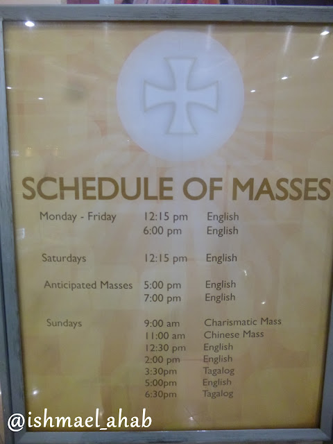 Schedule of masses in Chapel of the Eucharistic Lord in SM Megamall