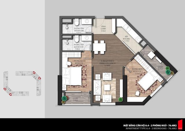 Thiết kế căn A.4 diện tích 76,4m2 chung cư The Emerald