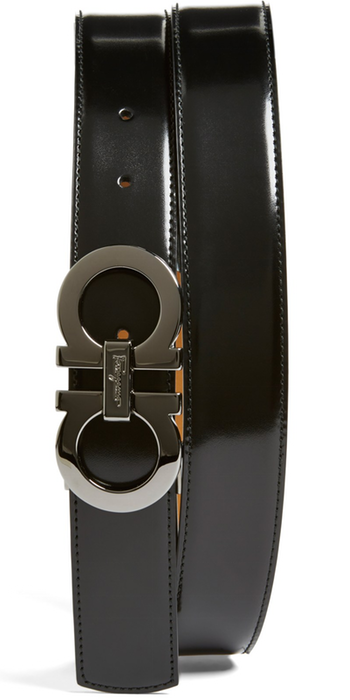Salvatore Ferragamo Reversible Leather Belt Black/Radica