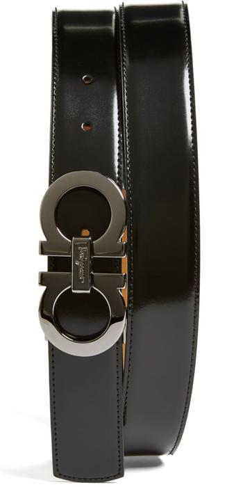 Salvatore Ferragamo Reversible Leather Belt Black/Radica
