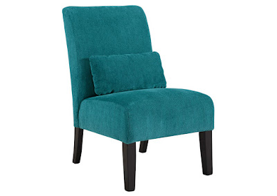 turquoise armless accent chair