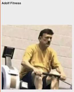 Persona haciendo deporte parecido a adolf Hitler