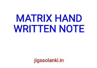 MATRIX THEORY HAND WRITTEN NOTE