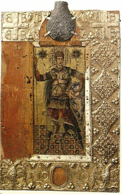 Η βυζαντινή μικροψηφιδωτή εικόνα του Αγίου Δημητρίου με τα σύμβολα των Παλαιολόγων