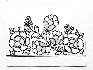 Flower borders design patterns pencil sketch on tracing paper for hand embroidery