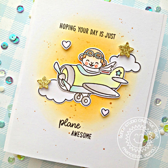 Sunny Studio Stamps: Plane Awesome Fluffy Clouds Border Dies Plane Themed Everyday Card by Franci Vignoli