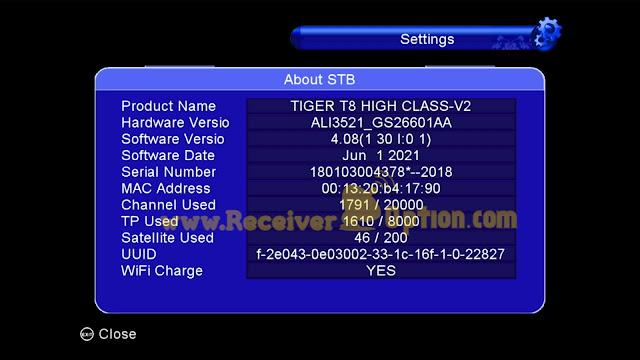 TIGER T8 HIGH CLASS V2 HD RECEIVER NEW SOFTWARE V4.08 1 JUNE 2021