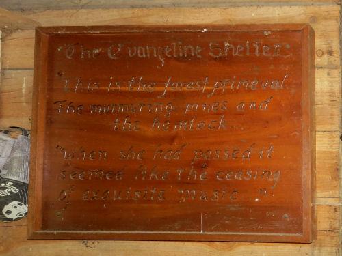 Evangeline poem carving