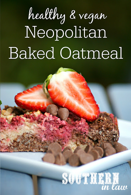 Vegan Neopolitan Oatmeal Recipe - low fat, gluten free, healthy, vegan, clean eating recipe, healthy breakfast recipes, freezer friendly,  breakfast meal prep