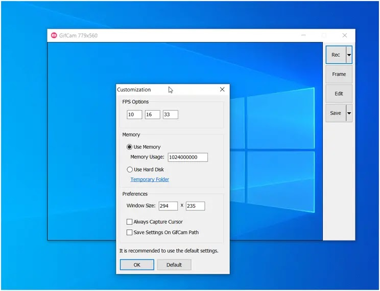 GifCam : Καταγράψτε στιγμιότυπα από τον υπολογιστή σας ως κινούμενα γραφικά
