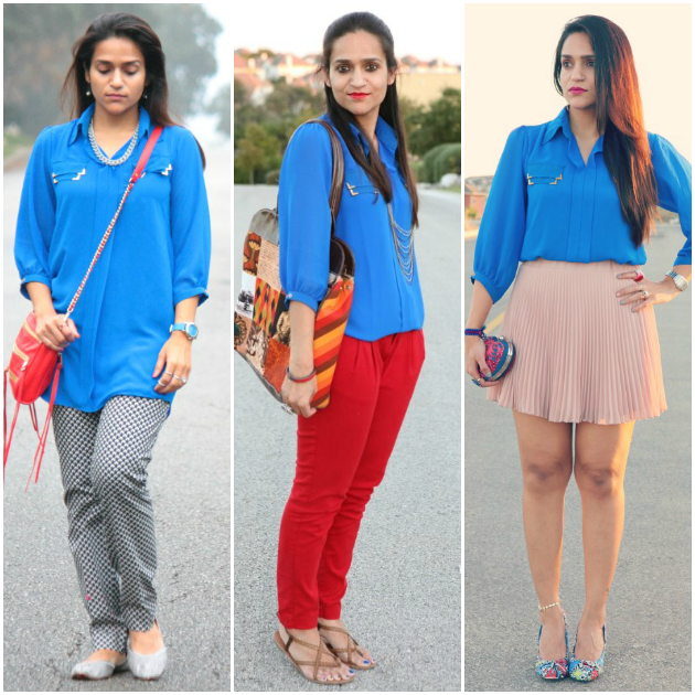 Three Ways To Style A Blue Tunic, Tanvii.com