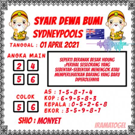 Syair Dewa Bumi Sidney Kamis 01 April 2021